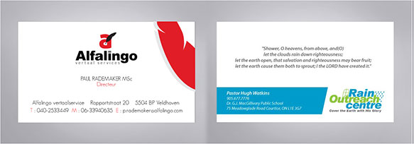 Business card designs at KID India